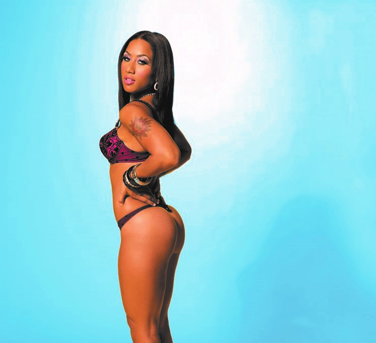 Nikki in a thong modeling for King Magazine