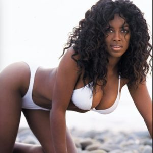 Kenya Moore modeling photo white bikini