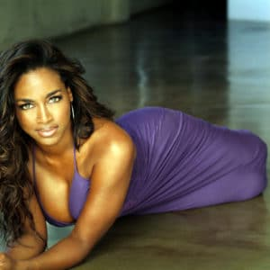 Kenya Moore on her stomach
