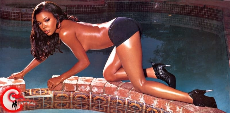 Gabrielle Union crawling by a pool