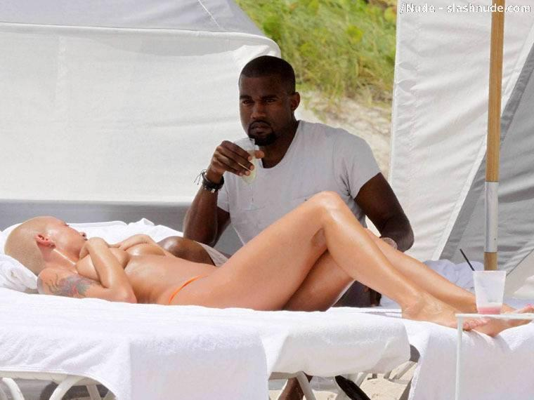 Kanye West with Amber rose at the beach