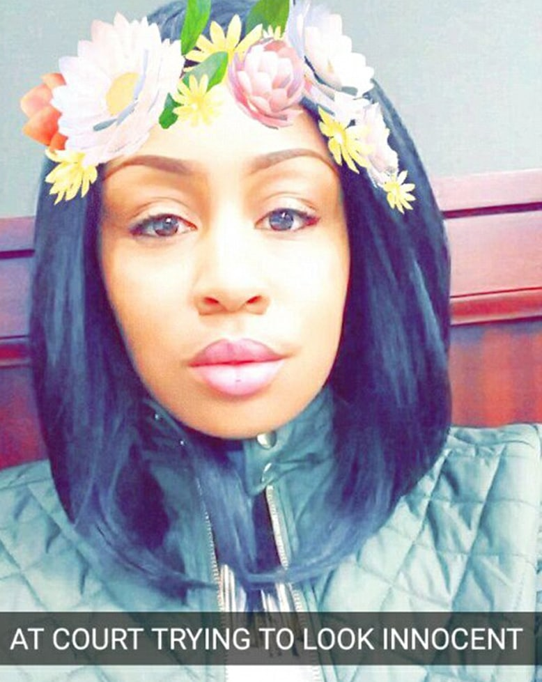 fugitive Brittney Jones at the courthouse snapchat with flowers in her hair