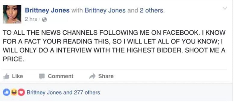 tweet sent out by Brittney Jones offering news agencies money for interview